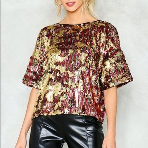 Nasty Gal Sequin Flowy Tee, Size 2